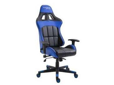 idimex Chaise de bureau gaming CREW, noir/bleu