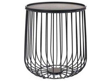 idimex Table d'appoint DAYA, panier en métal noir