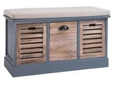 idimex Banc de rangement TRIENT, 3 casiers, gris et bois naturel