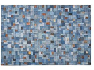 Tapis Patchwork 160x230cm Bleu AZPEITIA