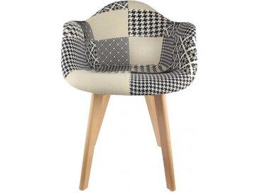 Chaise scandinave avec accoudoir patchwork bicolore FJORD
