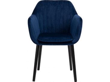 Chaise capitonnée en velours avec accoudoirs - 2 coloris - SHELL
