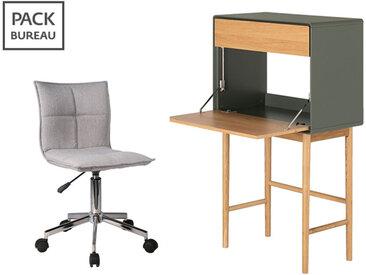 Pack bureau - chaise de bureau + secrétaire 1 porte 1 tiroir en bois vert et chêne clair - VERDET