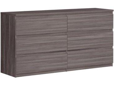 Grande commode basse 2x3 tiroirs rangement chambre - SOFT