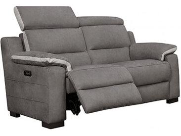 Canapé 2 places relax électrique avec têtières amovible gris - LUCIE
