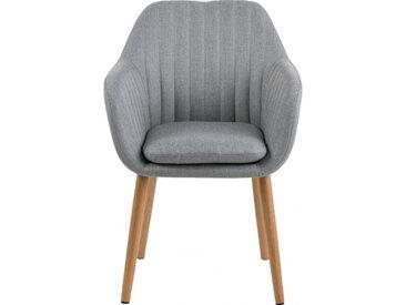 Chaise capitonnée en tissu avec accoudoirs gris clair - SHELL 078