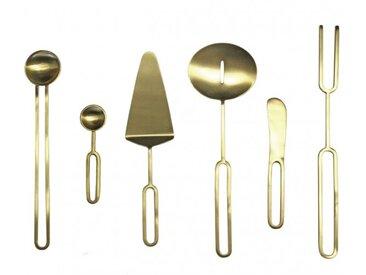 Service de 6 couverts en acier inoxydable doré finition laiton brossé - LOUTO