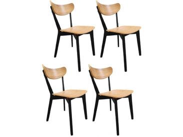 Lot de 4 chaises en bois de hêtre - 2 coloris - ROXANE