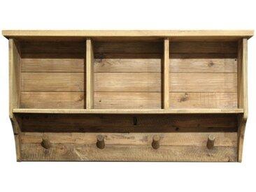 Etagère / patère murale en bois - 3 niches & 4 accroches - ORIGIN