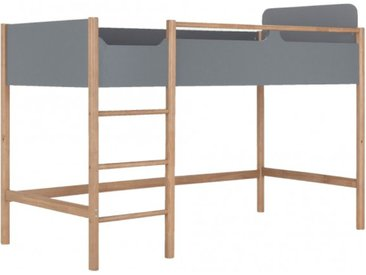Lit mezzanine 90x200cm en bois gris - FORIO 280