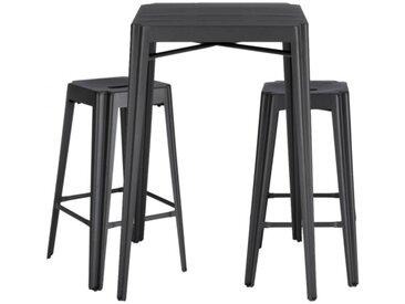 Ensemble table haute et 2 tabourets de bar industriel en métal - TRIVIA