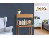 Bureau secrétaire 1 porte 1 tiroir en bois coloré et chêne clair - VERDET