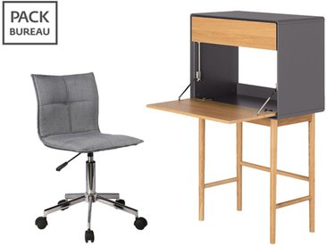 Pack bureau - chaise de bureau + secrétaire 1 porte 1 tiroir en bois gris et chêne clair - VERDET