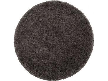 Tapis rond à poils longs gris D160cm - KRIS 306