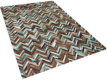 Tapis patchwork marron beige et bleu en cuir 160 x 230 cm AMASYA