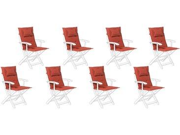 8 coussins moelleux en tissu rouge bordeaux anti-UV pour chaises de jardin