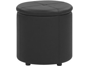Pouf coffre de rangement effet cuir noir pratique et décoratif