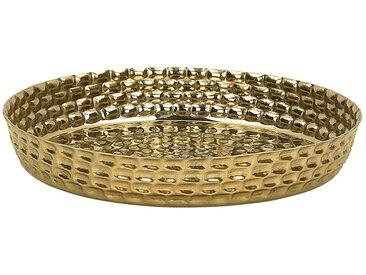 Plateau décoratif rond 38 cm en aluminium doré au style rétro et glamour