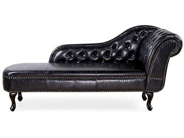 Méridienne style glamour en cuir noire