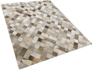 Tapis patchwork fait à la main en peau de vache marron et gris 160 x 230 cm