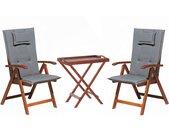 Ensemble de jardin table et 2 chaises pliantes en bois coussins gris graphite