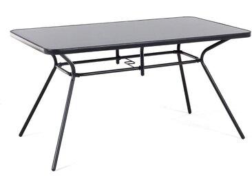 Table de jardin en acier noir avec plateau en verre