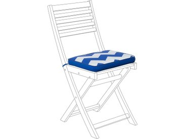 Coussin d'assise pour chaise motif à chevron bleu