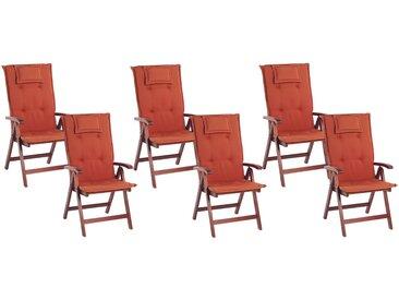 Lot de 6 chaises de jardin inclinables en bois d'acacia avec coussins rouges