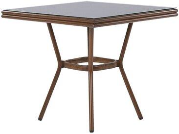 Table de jardin carrée avec plateau en verre de sécurité noir et pieds effet bois
