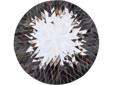 Tapis patchwork rond noir/blanc au style moderne