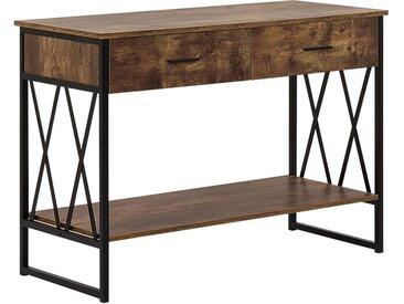 Meuble console à 2 tiroirs imitation bois foncé