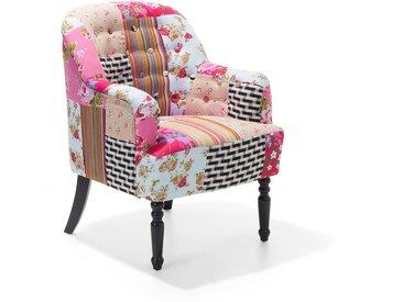 Fauteuil patchwork fauteuil en tissu multicolore MANDAL