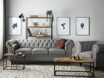 Set canapé fauteuil en tissu gris CHESTERFIELD Big