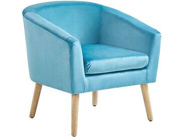 Canapé type cabriolet au style scandinave en velours bleu clair