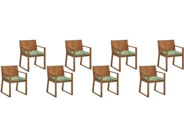 8 chaises en bois d'acacia avec coussins d'assise en vert et beige