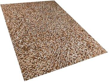 Tapis patchwork en peau de vache naturelle marron et beige 140 x 200 cm