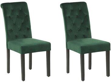 Lot de 2 chaises de salle à manger velours capitonné vert foncé avec heurtoir