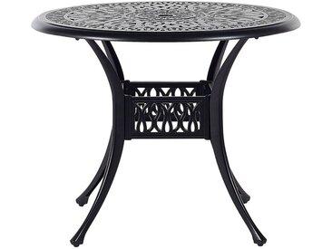 Table de repas de jardin ronde en aluminu noir effet vieilli