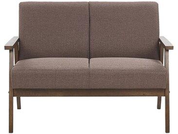 Canapé 2 places au style rétro en tissu marron avec structure en bois foncé
