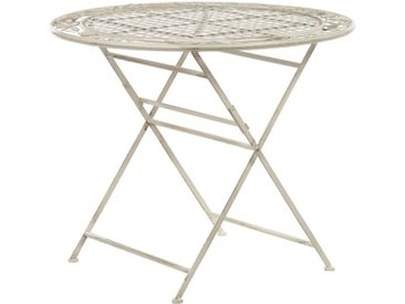 Table bistrot de jardin ronde et pliante en métal blanc cassé effet vieilli