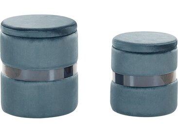 2 poufs coffres de rangement en velours bleu avec ceinture argentée
