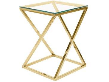 Table d'appoint avec plateau en verre et pieds en métal doré