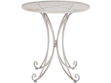 Table de terrasse ou jardin au style romantique en métal gris effet vieilli