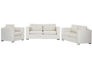 Canapés et fauteuil en cuir beige HELSINKI