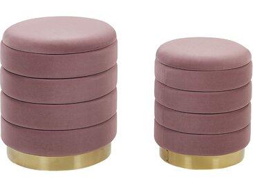 2 poufs coffres de rangement en velours rose avec bases dorées