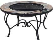 Table basse de jardin avec braséro intégré et plateau au motif mosaïque