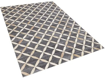 Tapis gris et beige en peau de vache et tissu jacquard 140 x 200 cm