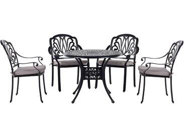 Table ronde de jardin en aluminium noir avec 4 chaises assorties