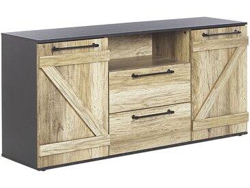 Commode de style rustique noire et bois clair avec 2 portes et tiroirs