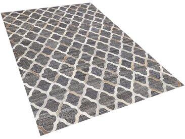 Tapis gris et beige motif marocain en peau de vache et tissu 140 x 200 cm